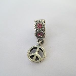 "Pandora ""Peace Sign"" Pink CZ Dangle Charm 790516CZ"